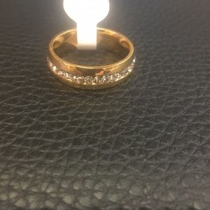 NWT gold tone pave zircon ring